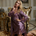 2016 срок годности твердые новый Twinset мягкие ночные рубашки женщин полный рукав V шеи пижамы сексуальные Pijamas Modelos Femininos 1528