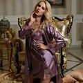 XIFENNI Marca de Dos Piezas Conjuntos de Traje Noble Púrpura de Seda del Faux Albornoces Sexy Cuello En V Bordado de Encaje Pijama Modelos Femininos 1528