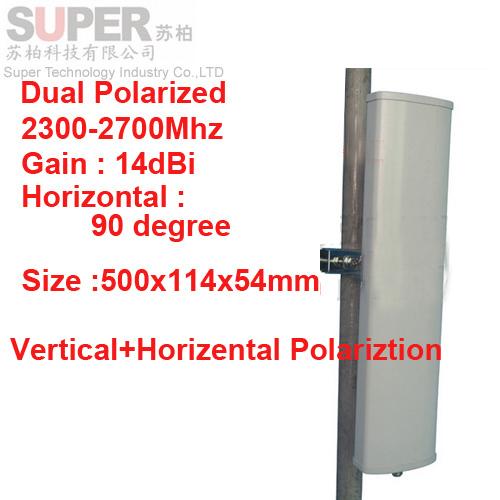 14 dbi vertical horizental polarización 90 deg 2.3 - 2.7 G antena Panel 2.4 G wifi antena Base estación FDD 4 G antena TDD antena