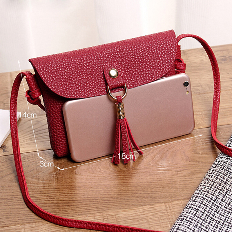 Women\'S Tassel Soft Clutch Bag Leather Small Mini Solid Shoulder Handbags Phone Bag Tote Lady