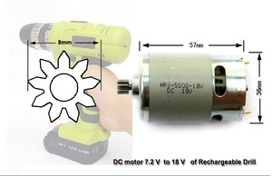 Image 1 - Factory direct HRS 550S 10.8 Voltage 9 Toothed Gear ( 8mm) DC motor of Electric drill
