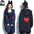 Однобортный джинсовая куртка с капюшоном Рок Harajuku Сердце Отпечатано Пальто Женщина высокое качество джинсовой ткани женщин Большого размера свободные куртки