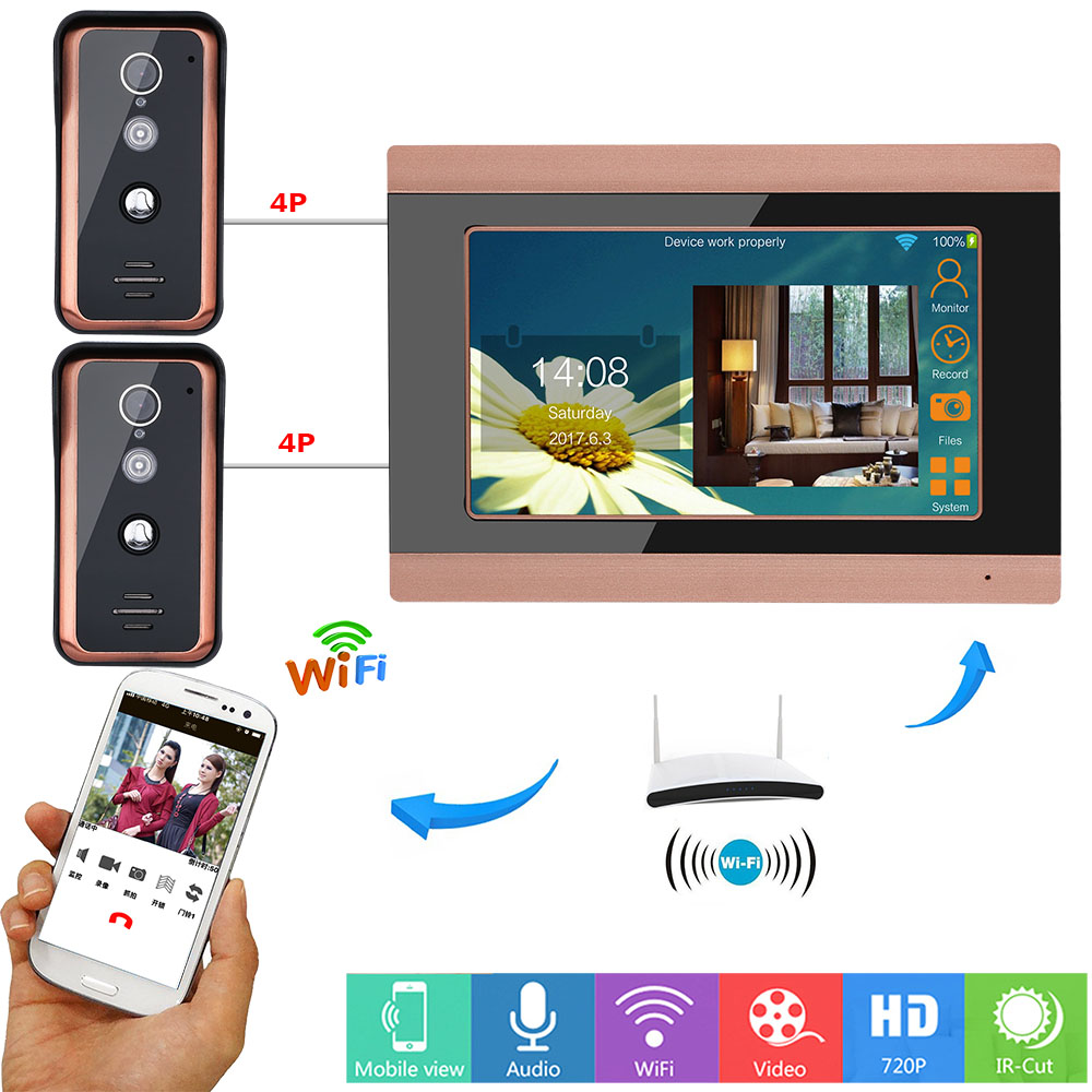 Two Cameras One Monitor Video Doorphone Intercom Doorbell System APP Intercom Unlocking Recording Snapshot For Home Security
