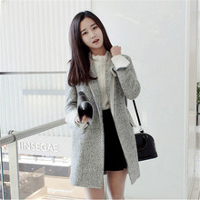 Fashion Woolen Winter Coat Female Slim Women's Wool Coat Long Parkas Warm Overcoat Jackets Women Casual Outerwear C1185