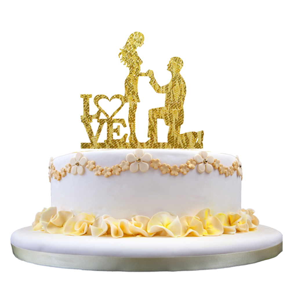 Propose Cake Decoration LOVE Romantic Acrylic Cake Decorating Topper ...
