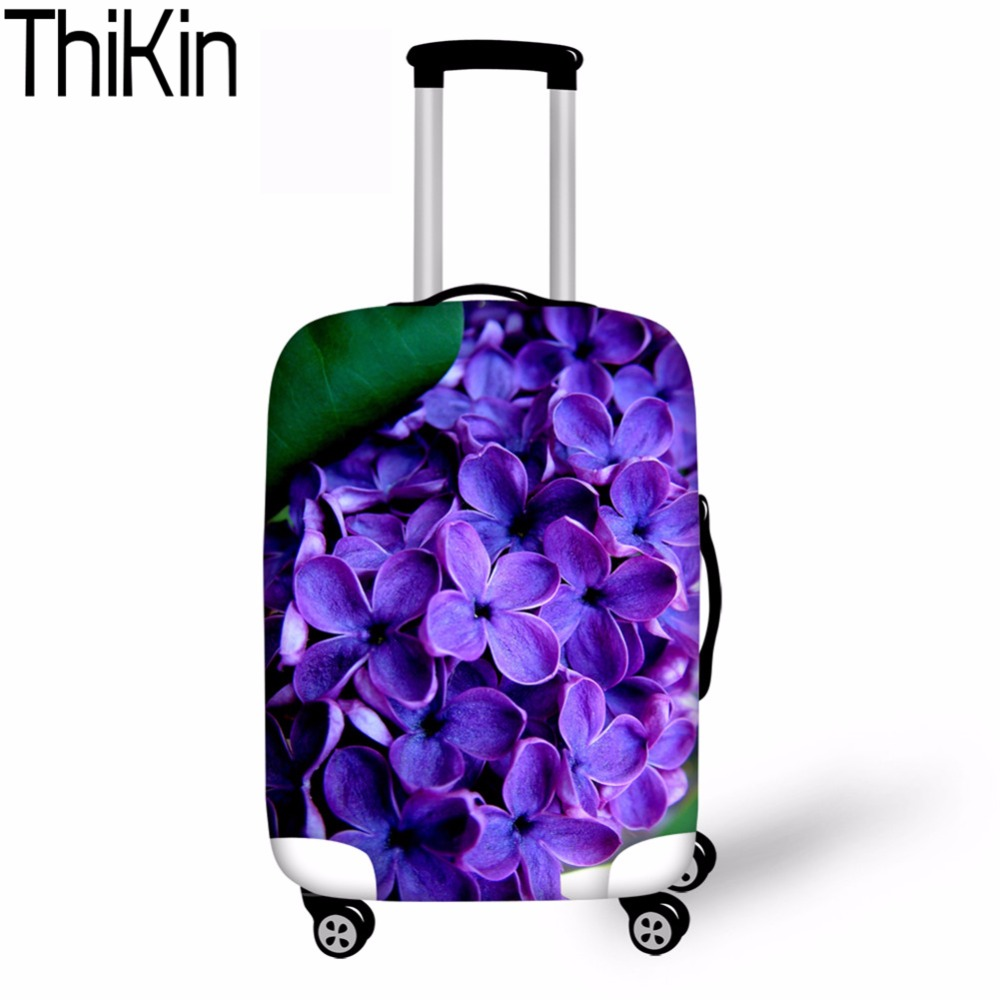 THIKIN Case Cover Purple Lilac Flower Protective Covers For 18-30 Inch Trolley Suitcase Elastic Rain Cover Travel Accessories