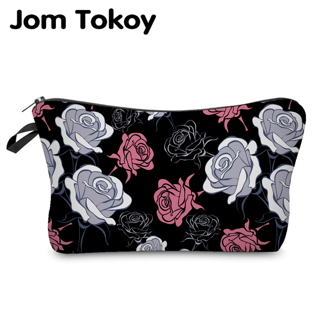 Jom Tokoy 2018 New Fashion 3D Printing Women Flowers Fashion Brand Travel Makeup Case Cosmetic Bags