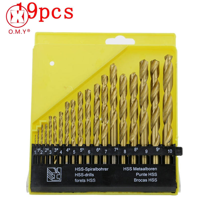 OMY Titanium Metalworking Hard Metal  HSS Twist Drill Bit Set For Drilling Stainless Steel 19 Pcs From 1mm To 10mm 19pcs hss titanium twist drill bit set high speed steel straight round shank 1 10mm durable power tools for metal drilling