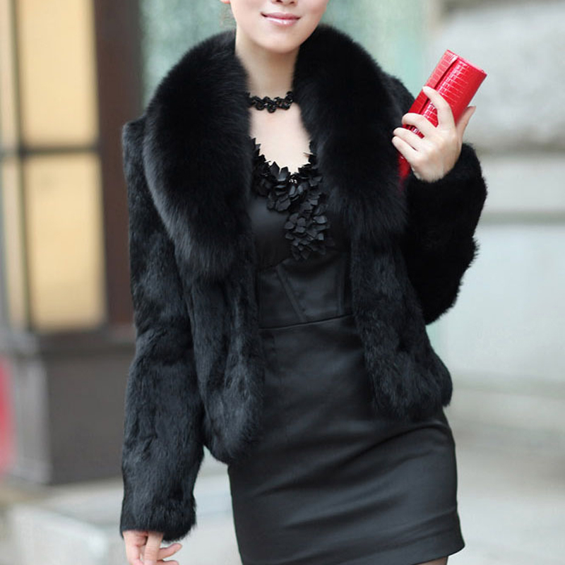 Rabbit-Fur Coat Jacket Natural Fox-Fur-Collar Full-Pelt Luxury Real Genuine with Overcoat/sr30