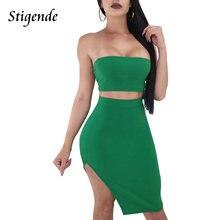 Stigende Summer Women Two Piece Skirt Sets Off Shoulder Bandage Crop Top  and Side Split Dress 2 Piece Set Sexy Party Clubwear d639ee1a4d53