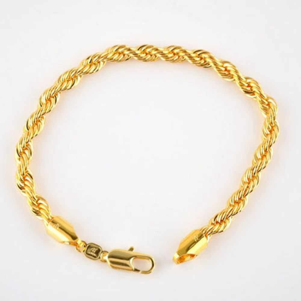 24 K Real Yellow SOLID Gold FINISH Rope Bracelet 5mm, 21.5cm / 8.4 inch Long,Men's /Ladies Sale Event