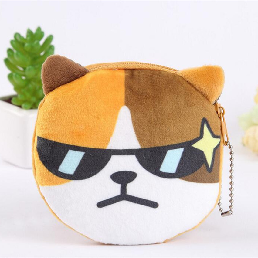 M151 New Cute Women Purses Cartoon Creative A Variety Of Expressions Plush Cat Coin Purse Wallet Card Bag Girl Gift Wholesale