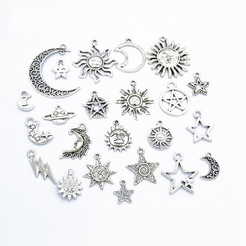 23pcs/Set Antique Silver Sun, Moon & Stars Charms Pendant for DIY Personalized Choker Necklace Bracelet Handmade Jewelry Making