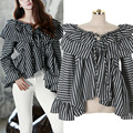 2017 Spring New Fashion Korean Casual Stripe Tops Shirt Womrn Flare Sleeve Shirt Blouse