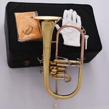 Профессиональный кожаный чехол с 2 ртами и золотым клапаном flugelhorn Monel