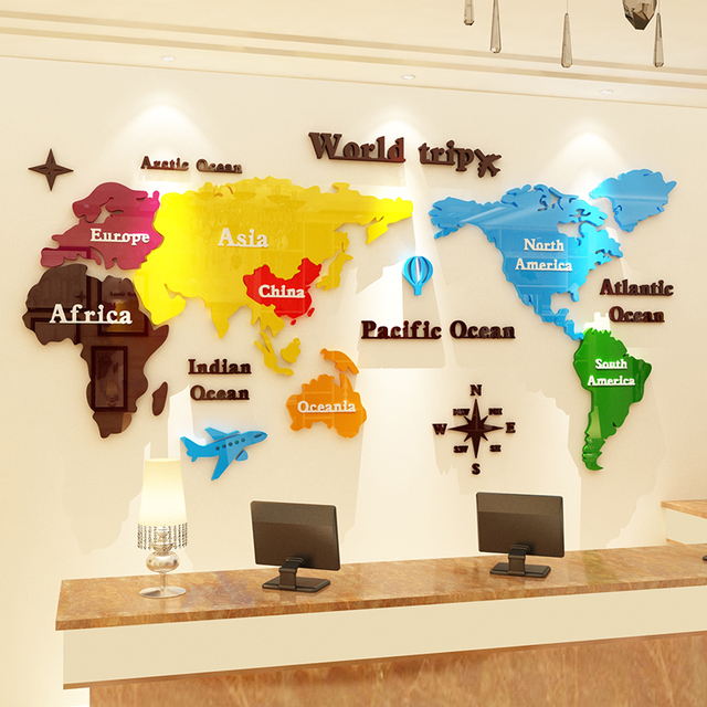 Map Of Asia For Kindergarten.Us 58 65 15 Off New Color World Map Acrylic Wall Stickers 3d Solid Wall Decoration Kindergarten Office Classroom Layout Stickers In Wall Stickers
