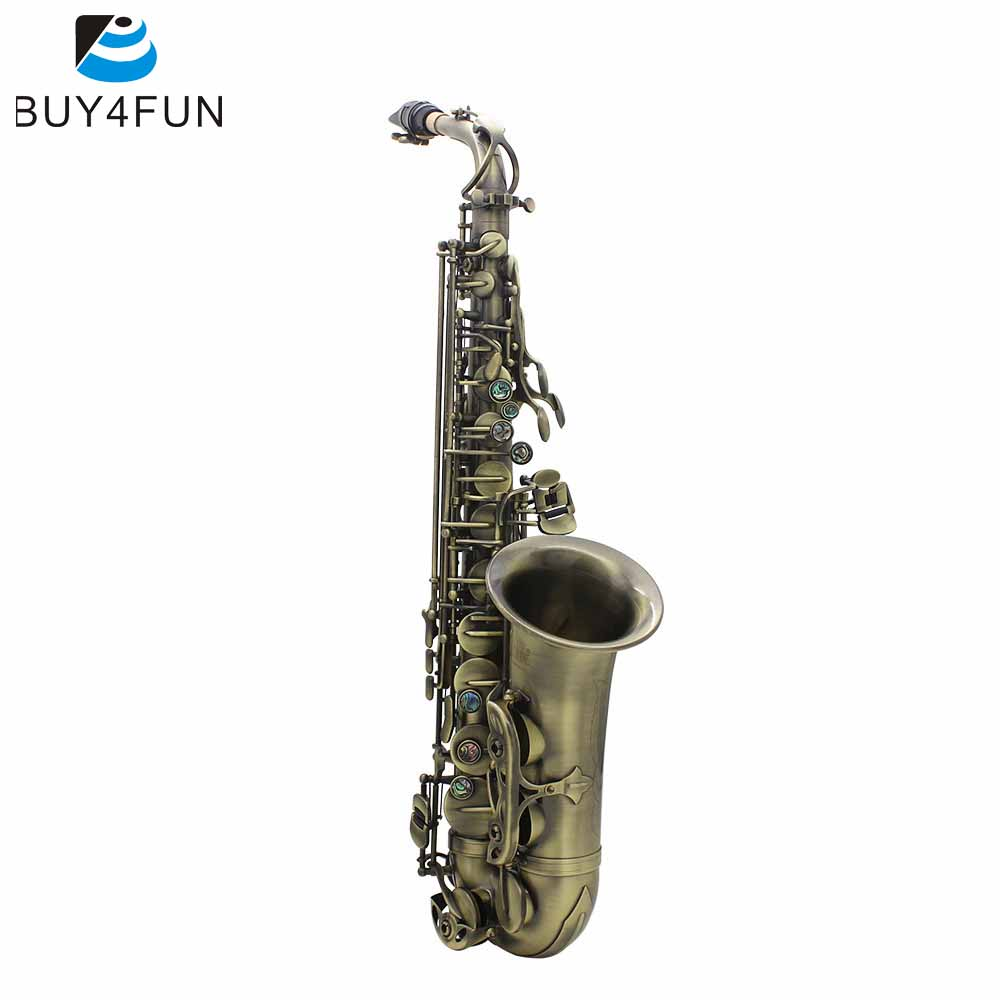 High Grade Antique Finish Bend Eb E flat Alto Saxophone Sax Abalone Shell Key Carve Pattern