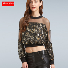 Alien Kitty New Autumn Patchwork Mesh Tops Women Long