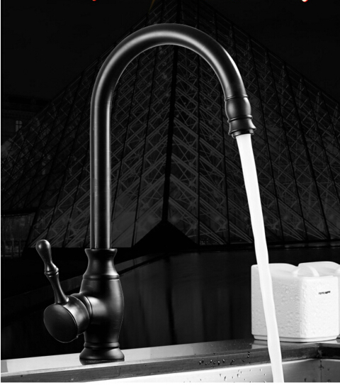 High Quality New kitchen faucet antique black brass 360 degree water mixer sink mixer tap wash basin faucet oil rubbed bronze high quality new kitchen faucet antique black brass hot and cold water mixer sink mixer tap wash basin faucet oil rubbed bronze