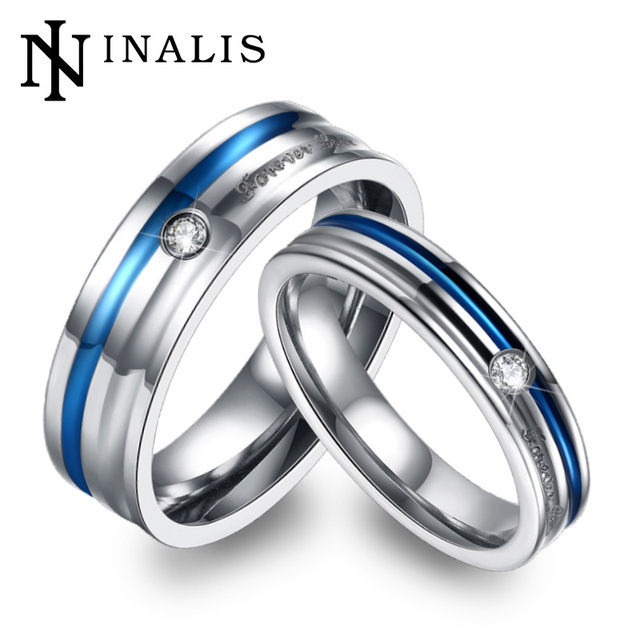 Forever Love Design Couples Wedding Bands Jewelry Blue Titanium Steel Rings Set For Women Men