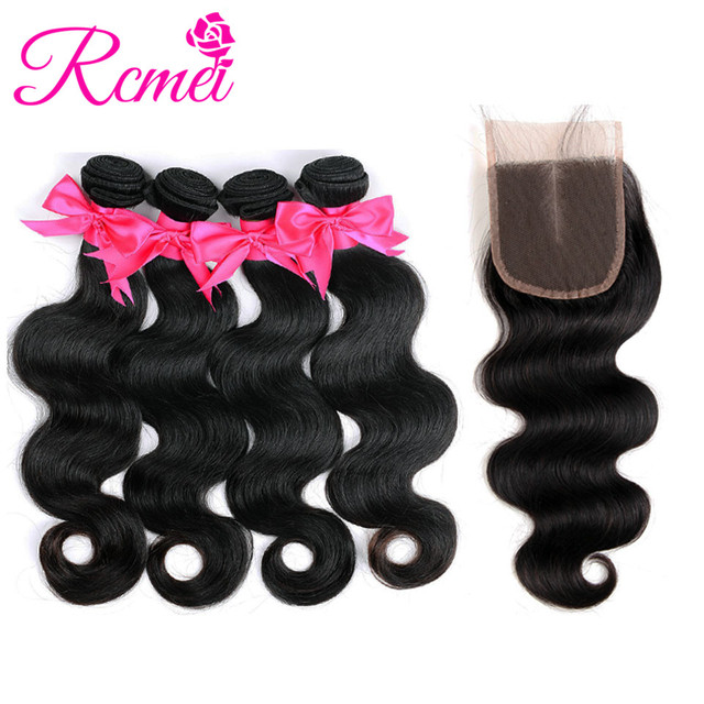 Rcmei Bundles With Closure Brazilian Body Wave Bundle With Closure 4 pcs Human Hair Bundles Weaving With 4*4 Closure Non Remy