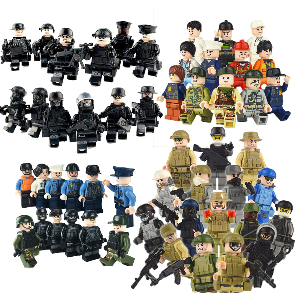 Military SWAT team set city police weapon model building blocks kit brick kids Gift Compatible With LegoINGS