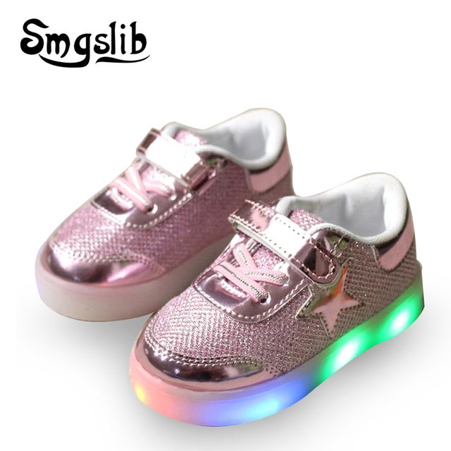 8ac40180ea4 US $7.48 49% OFF|Led sneakers kids New Baby Girls boy LED Light Shoes  Toddler Anti Slip Sports Boots Kids Sneakers children lighting shoes  Flats-in ...