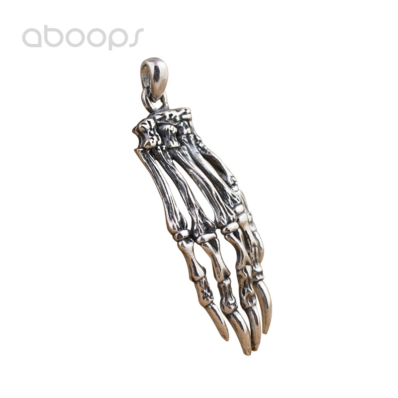 Gothic Two Tone 925 Sterling Silver Skeleton Hand Necklace Pendant for Men Boys Free Shipping