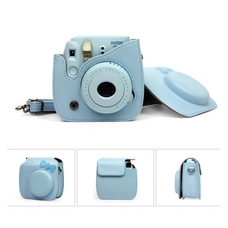 New Classic Vintage Leather Camera Strap Bag Case Cover Pouch Protector For Polaroid Camera For Fuji Fujifilm Instax Mini 8