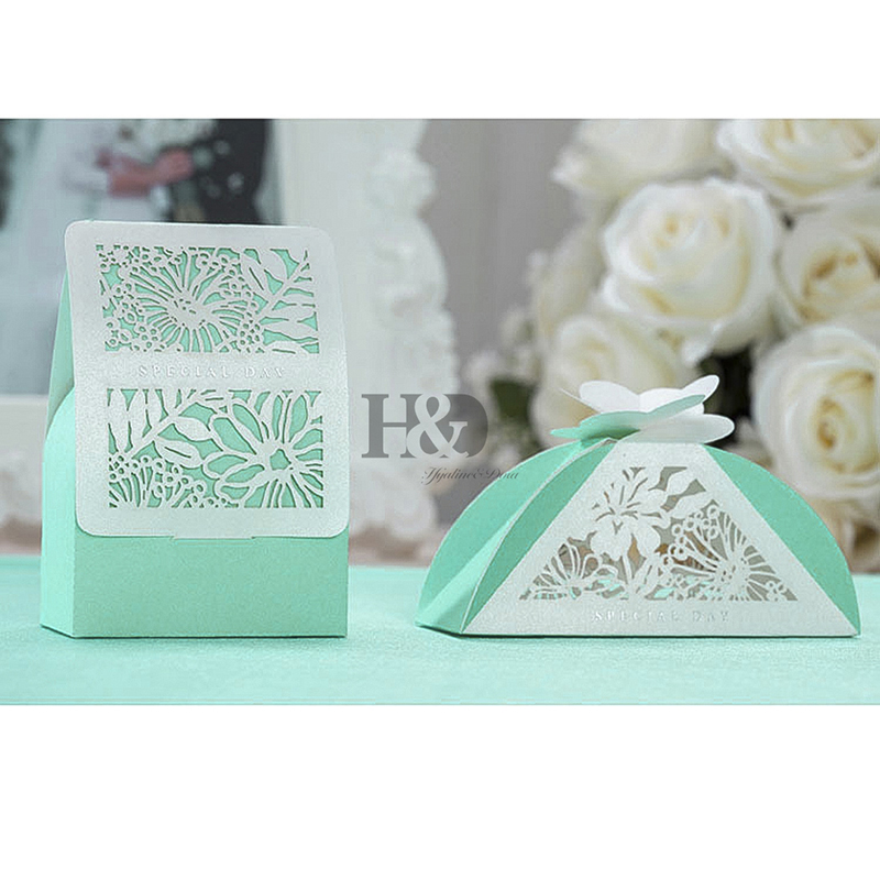 buy 2pcsset high quality lase cut flower candy boxes wedding favors gift box party favor decoration tiffany bule from reliable wedding