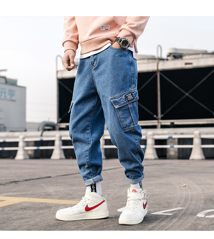 Zogaa Streetwear Blue Jeans Pants 2019 Mens Pockets Hip Hop Overalls Cargo Pants Male Loose Fashion Denim Harem Pants Mid Waist