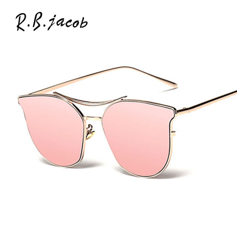 2017 Fashion Cat Eye Sunglasses Women Brand Designer Clear Pink Metal Frame Cateyes Driver Sun glasses Lady Good Quality