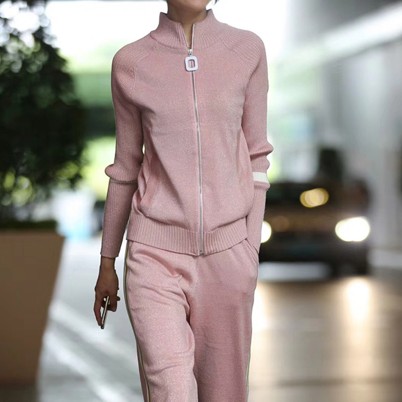 2020 Winter Silk And Cotton Knitted Warm Suit High Collar Bling Bling Sweater + Elastic Waist Trousers Leisure Two-piece Wj1067