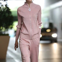 2020 winter Silk and cotton Knitted warm Suit High Collar bling bling Sweater + elastic waist Trousers Leisure Two piece wj1067