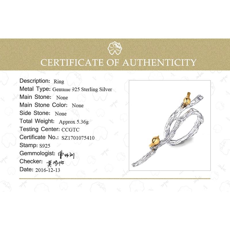 Lotus Fun 925 Silver Ringar för kvinnor Bird Animal Branch Ring - Fina smycken - Foto 6