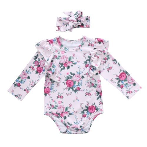 d9490cfa9b96 Pudcoco Newborn Kids Baby Girl Floral Romper Jumpsuit +Headband ...