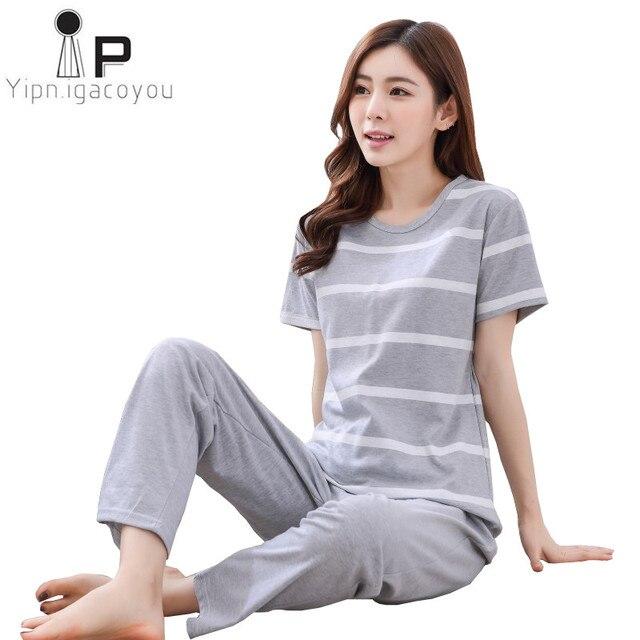 여성용 잠옷 세트 여름 가을 2020 플러스 사이즈 awaii면 홈 의류 여성 잠옷 만화 여성 Homewear pijama 3XL