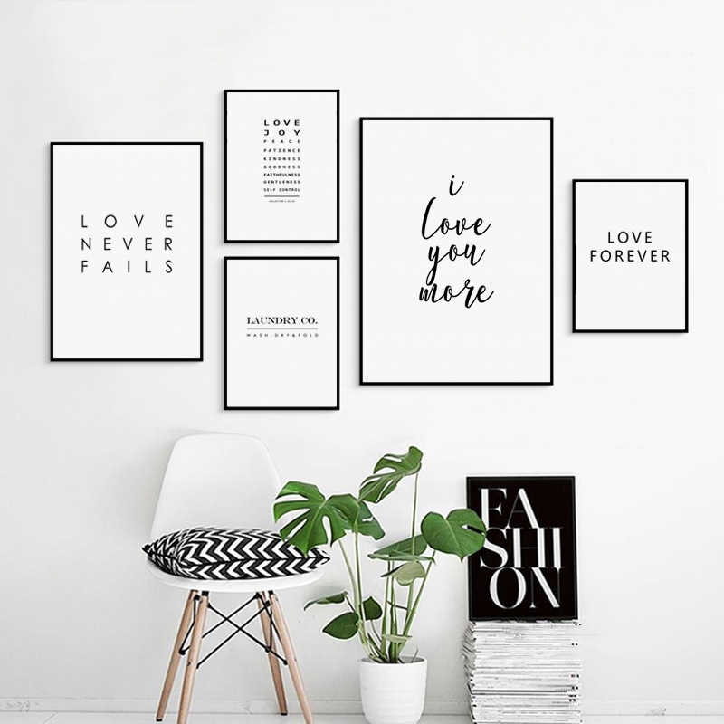 Printed Home Decoration Wall Artwork Simple Black And White Love Phrase Canvas Painting Modular Pictures Poster For Living Room