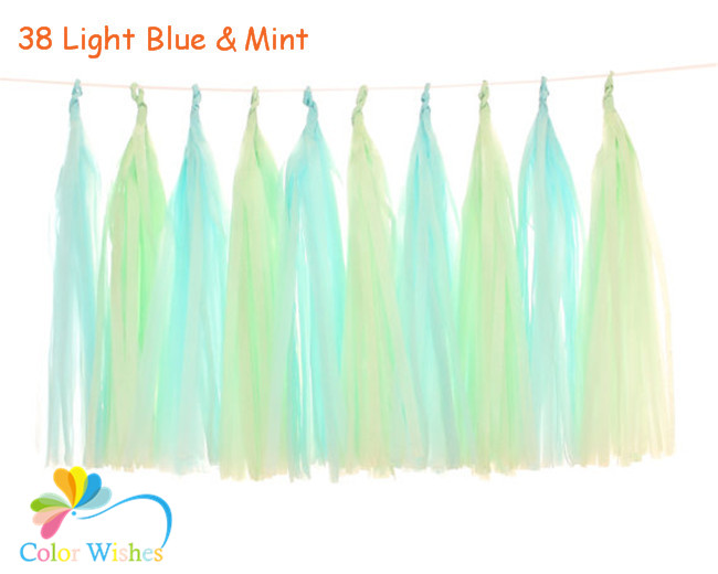 25*35cm 10pcs/lot Light Blue and Mint Tissue Paper Tassel Garland Kit for Summer Pool Party Baby Shower Buffet Table Decors