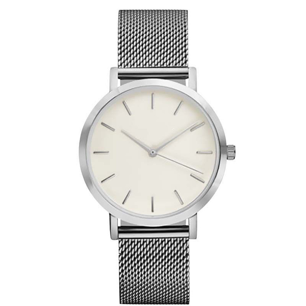 Cool Stuff Fashion Simple Stylish Top Brand Women Watches Stainless Steel Mesh Strap Quartz-watch Thin Dial Men Watch Clock Reloj Mujer 4