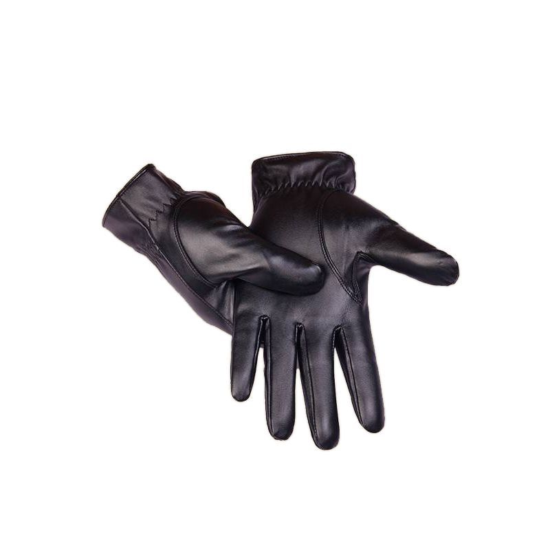 1 Pair  Black Men Winter Leather Motorcycle Full Finger Touch Screen Warm Gloves