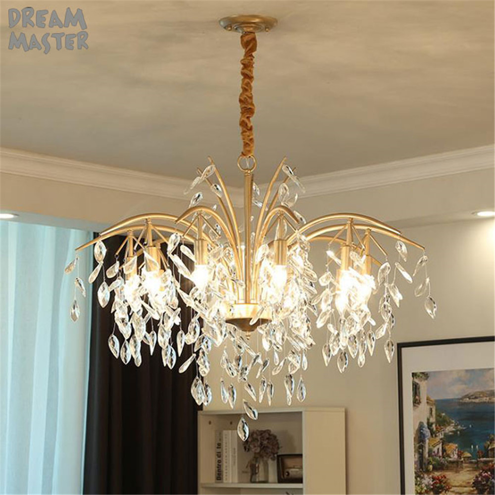 New art leaves crystal chandelier lighting, American country living room dining room hanging lamp, Modern french lustres lights 2015 new modern crystal glass pendant lights american country lamps living dining room new lampadario moderno bar luminarias