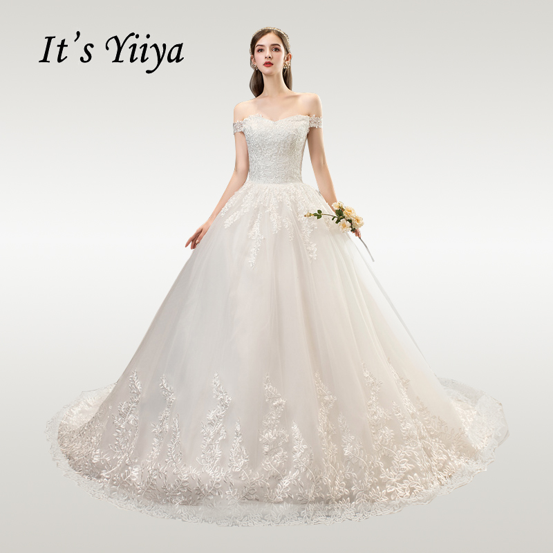 It's YiiYa Wedding Dress Full White Lace Elegant Wedding Dresses Off Shoulder Boat Neck Robe De Mariee Free Shipping HS752