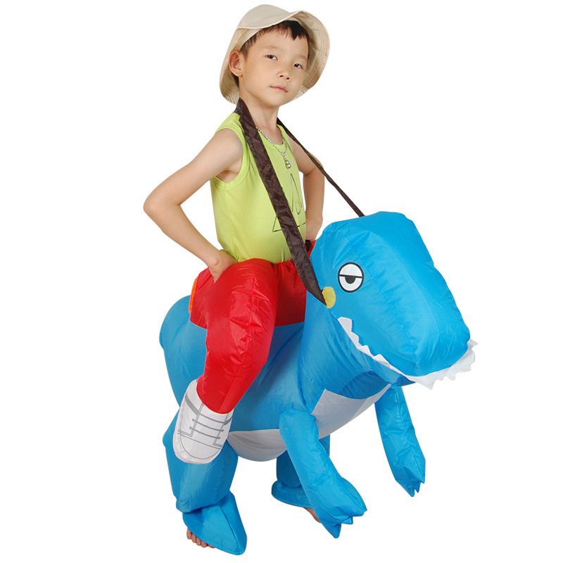 Blue Dinosaur Inflatable Cosplay Costumes For Children T-rex Anime Game Suits Halloween Christmas Party Toys Inflated Garment
