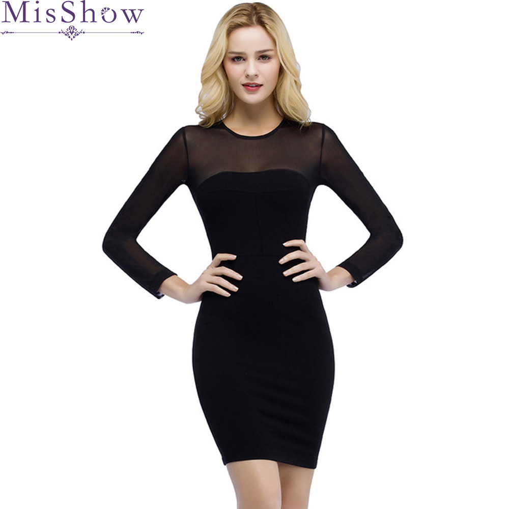 Cheap Short Evening Dress Women Clothing Bodycon Pencil Sheath Long Sleeve Elegant Evening Party Dresses Robe De Soiree