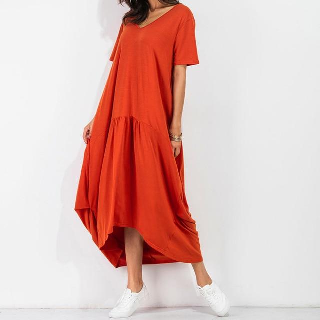 oranje lange jurk