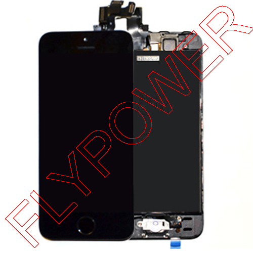 LCD Digitizer with Home Button and Front Camera Assembly for iPhone 5GS 5S without finger sensor by free DHL;10pcs/lot