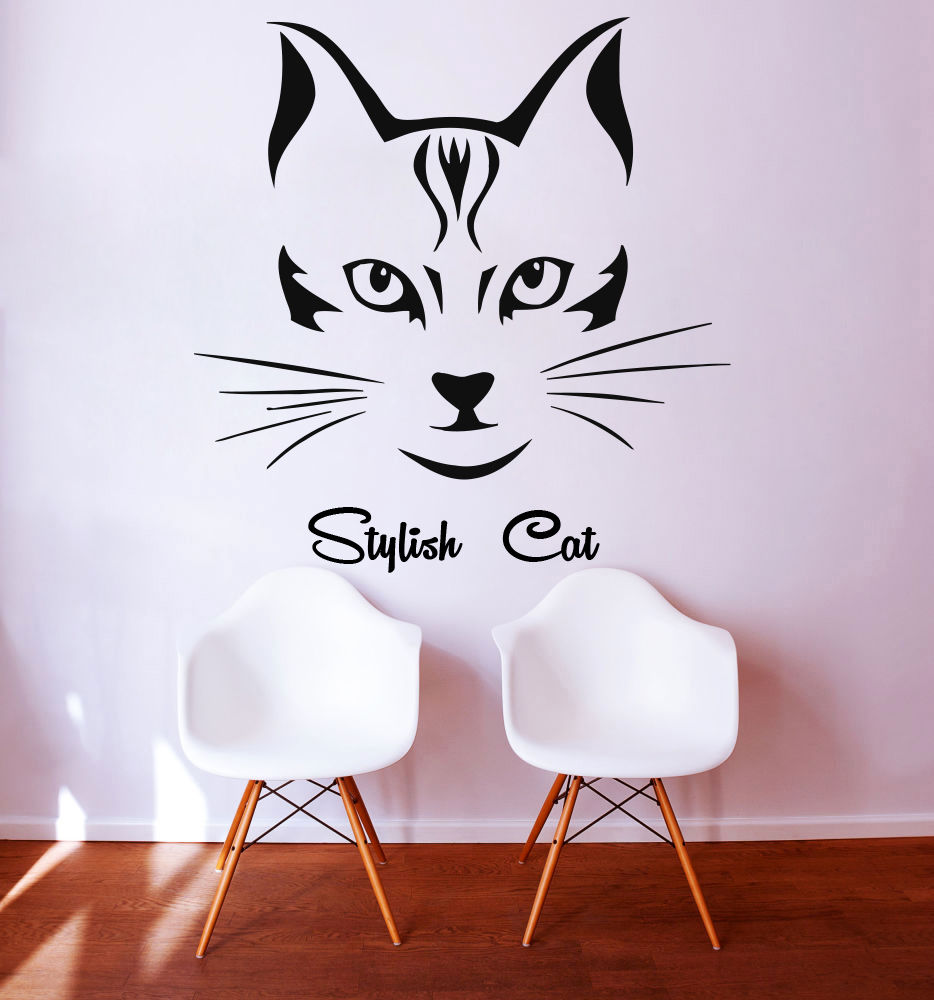 Beautiful Cat Vinyl Wall Stickers Removable Wall Decal Pet Sticker Beauty Grooming Salon Bedroom Decor Hot
