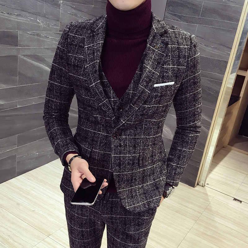 2019 新メンズ 3 点セット (ジャケット + ベスト + パンツ) アジアサイズ S-5XL 男性チェック柄ストライプメンズスーツ