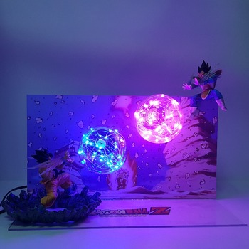 Dragon Ball Z Goku Kamehameha VS Vegeta Galick Gun Action Figures Led Toy Anime Super Son Figurine
